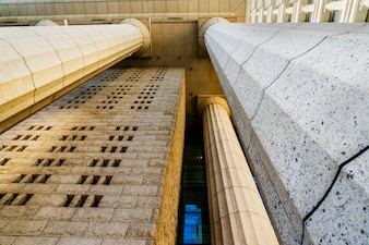 Grey marble column details on building
