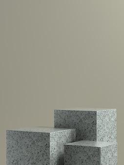 製品バナーまたはプロモーション用の薄茶色の壁の背景を持つ灰色の大理石の立方体の製品ステージまたは表彰台。 3dイラストレーション