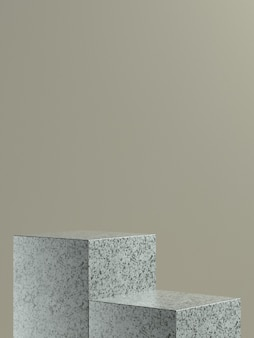 Grey marble cube product stage or podium with light brown wall background for product banner or promo. 3d illustration