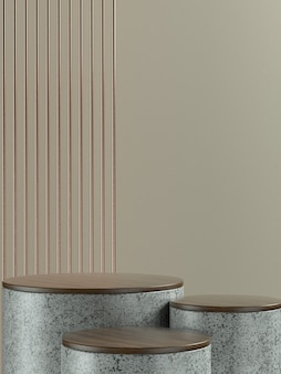 製品バナーまたはプロモーション用の薄茶色の壁の背景を持つ灰色の大理石の丸い製品ステージまたは表彰台。 3dイラストレーション