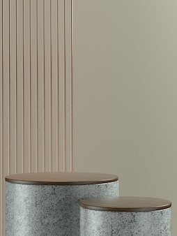 Grey marble round product stage or podium with light brown wall background for product banner or promo. 3d illustration