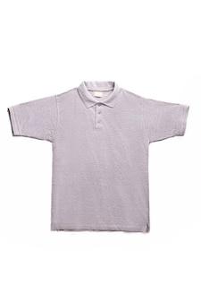 Серая мужская рубашка-поло на белом фоне
