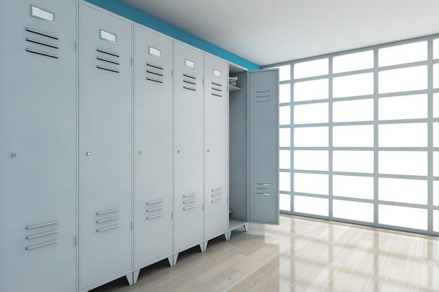 Серые металлические шкафчики перед синей стеной. 3d рендеринг