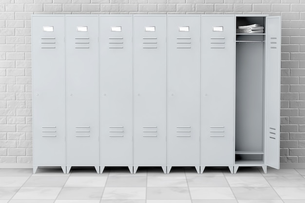 Серые металлические шкафчики перед кирпичной стеной. 3d рендеринг