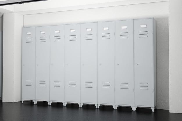 ロッカールームの極端なクローズアップの灰色の金属ロッカー。 3dレンダリング。
