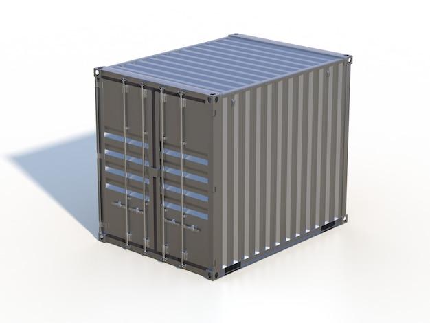 Grey metallic ship cargo container, 10 feet length, with shadow