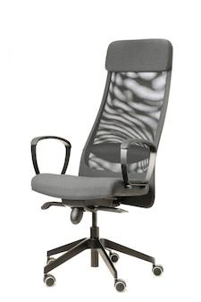 Серый офисный стул на белом