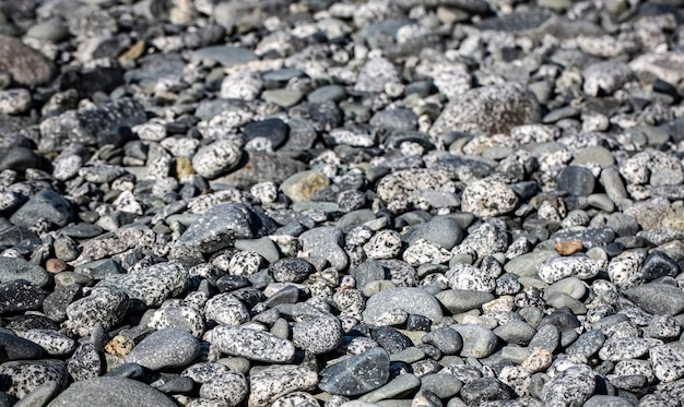 The grey pebbles on the beach on ocean.