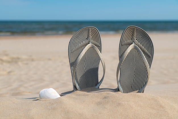 Grey sandals at the beach on a beautiful sunny day.