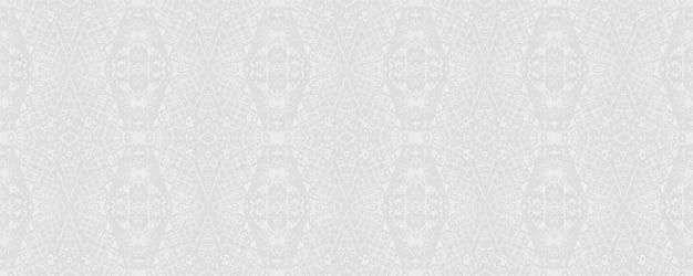 회색 원활한 인쇄입니다. 은빛 끝없는 아즈텍 텍스처. 눈 색 장식. 민속 질감. 철 기하학 자수.