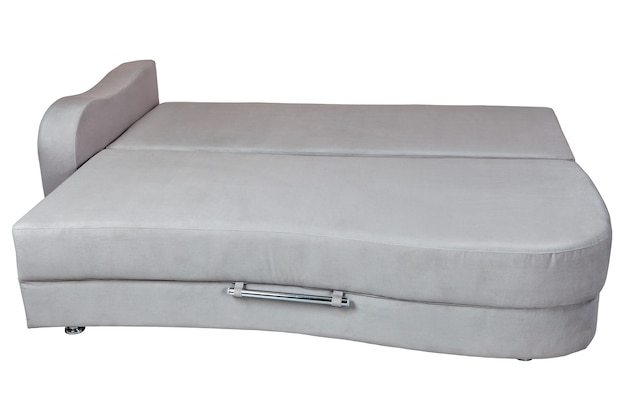 Grey sofa bed with storage for bedding, isolated on white,   isolated on white background,  include clipping path.