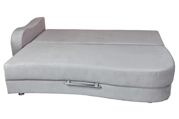 寝具用収納付きの灰色のソファベッド、白で隔離、白の背景で隔離、クリッピングパスが含まれています。