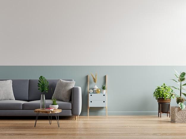 Серый диван в простом интерьере гостиной, 3d-рендеринг