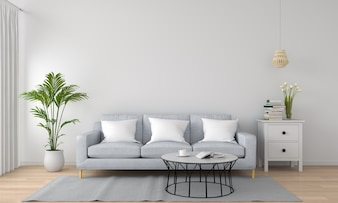 Grey sofa in white living room
