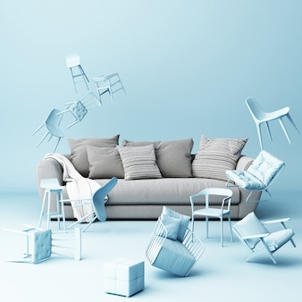 Grey sofa surrounded by a lot of floating chairs
