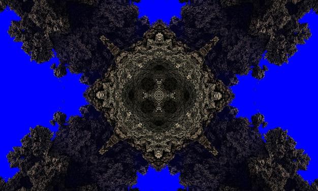 非常に濃い青の背景の光沢のあるフレームの背景に灰色の石の十字架。技術の背景。