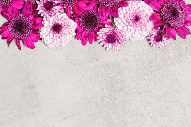 Grey textured background decorated with flowers