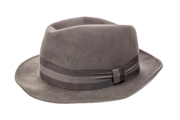 Grey vintage retro fedora hat isolated