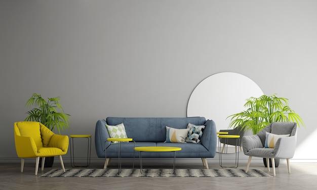 灰色の壁のリビングルームにはソファと装飾があり、インテリアのモックアップ、3dレンダリング