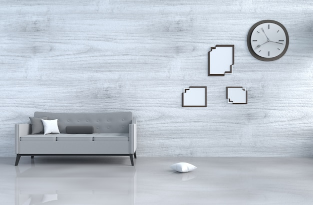 Grey-white living room decor grey sofa,wall clock,white wood wall,pillow,picture frame. 3d