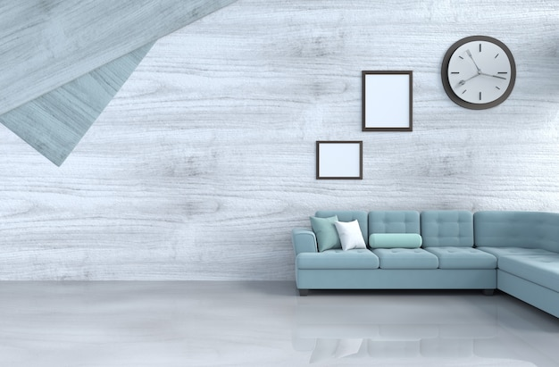 Grey-white living room decor with green sofa, wall clock,white wood wall, picture frame. 3