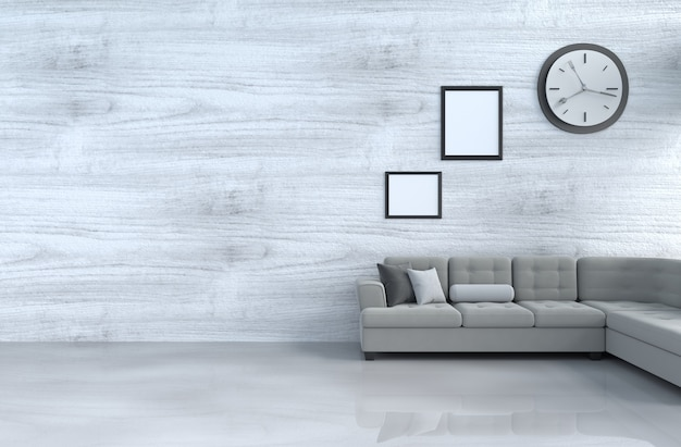 Grey-white living room decor with grey sofa, wall clock, white wood wall,picture frame. 3d