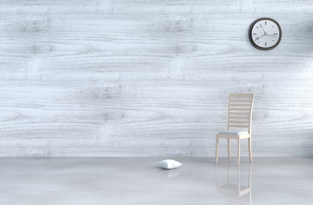 Grey-white living room decor with wood chair,wall clock,white wood wall,pillow,floor. 3d r