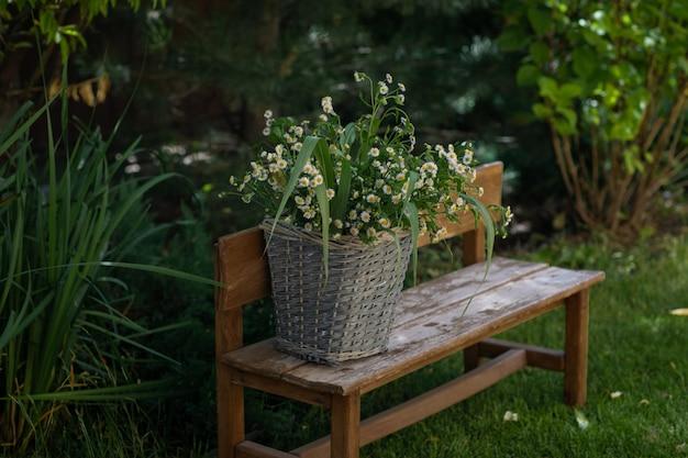 Серая плетеная корзина с букетом ромашек на деревянной скамейке в саду