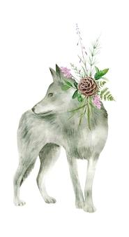 Акварель серый волк, изолированные на белом фоне