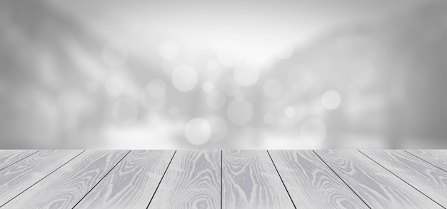Grey wooden board on blurred background
