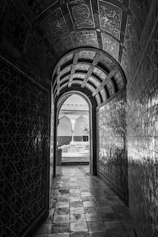 Greyscale of the halls of the convent of christ in tomar in portugal