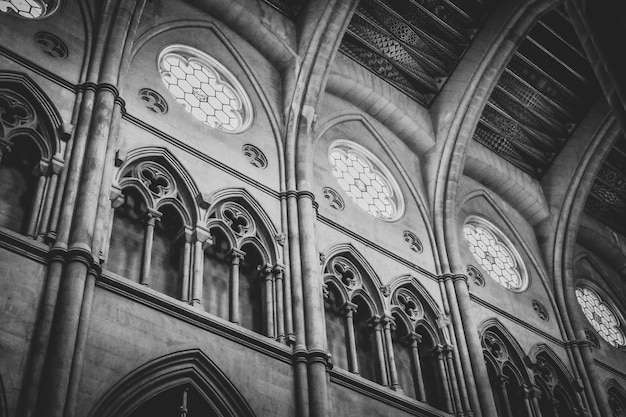 Greyscale low angle shot of the inside of a historic cathedral in spain
