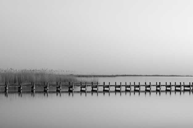 Greyscale shot of a wooden pier near the sea during daytime