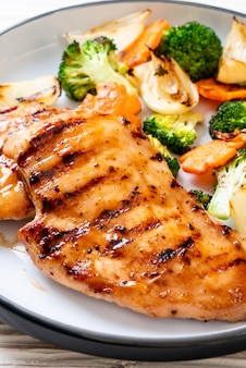 Griled chicken breast steak with vegetable