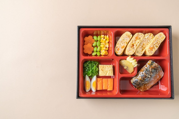 Grill mackerel saba fish with appetizer in bento set - japanese food style