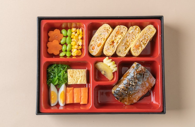 Grill mackerel saba fish with appetizer in bento set