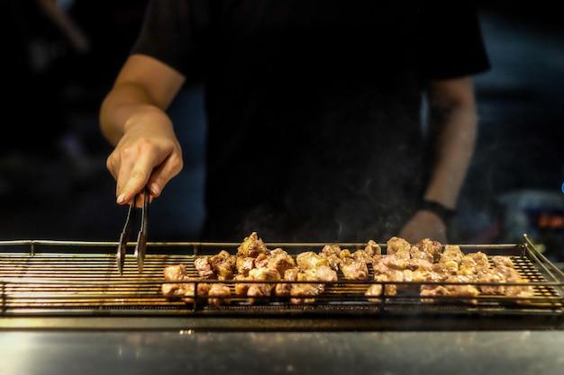 Grill meat in taipei night market