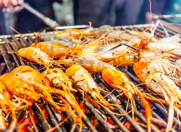 Grill prawn close up
