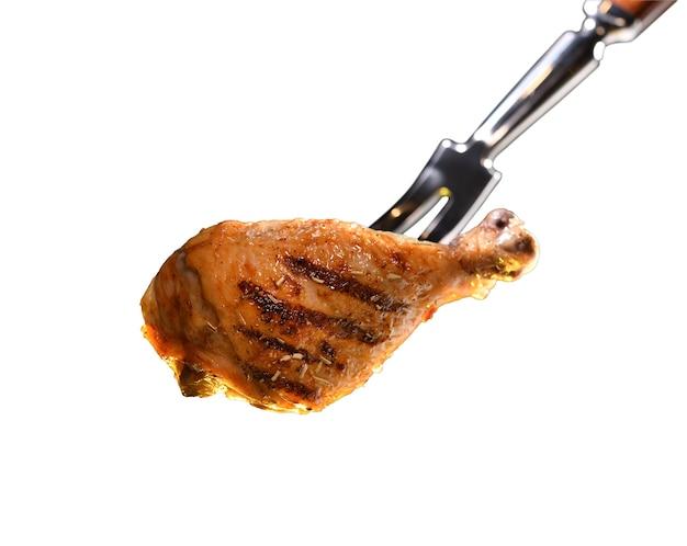 Гриль жареная куриная ножка барбекю, изолированные на белом фоне