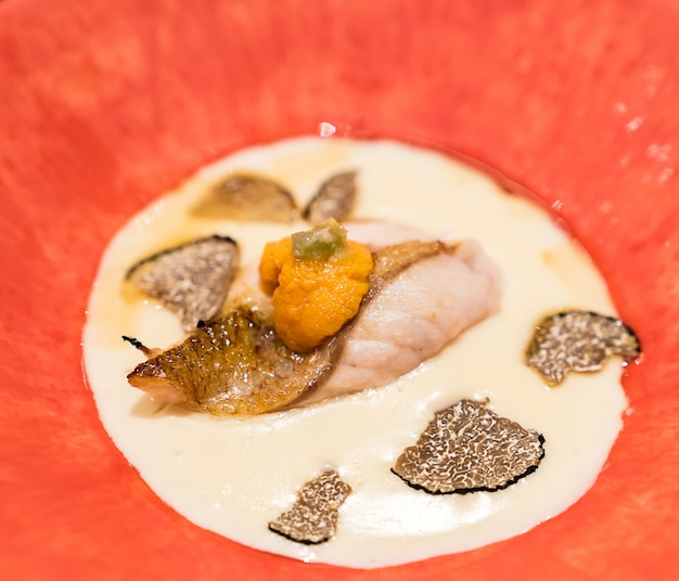 Grill seabass with sea urchin