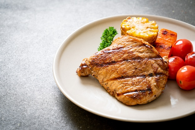 Grilled and barbecue fillet pork steak with vegetable