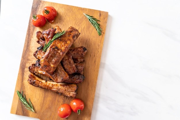 Grilled barbecue ribs pork