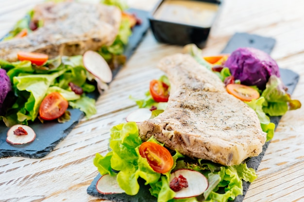 Grilled bbq pork chop meat steak