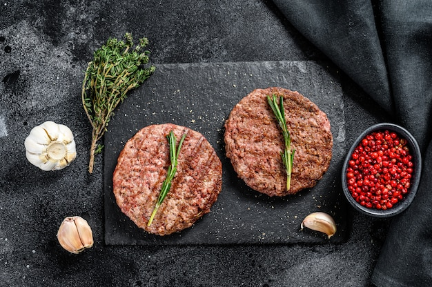 Grilled beef burger patties. meat cutlet.  top view