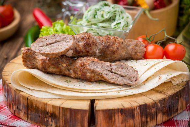 Grilled beef  meat kebabs
