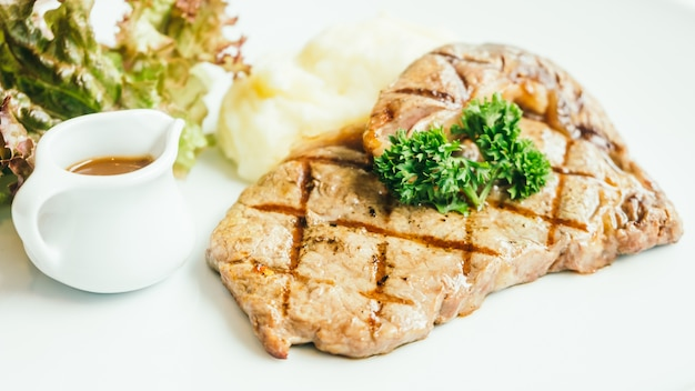Grilled beef meat steak with sauce