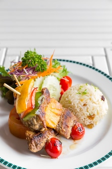 Grilled beef skewer with rice