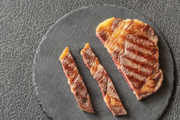 Grilled beef steak: top view