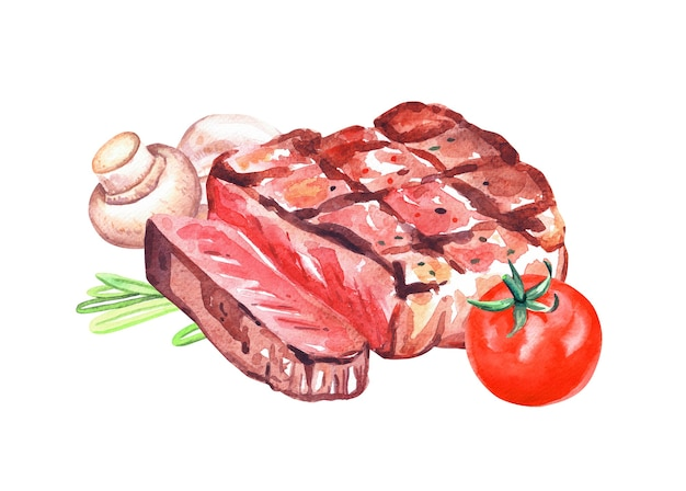 Grilled beef steak with rosemary, mushrooms and tomato. watercolor hand drawn illustration isolated on white background.