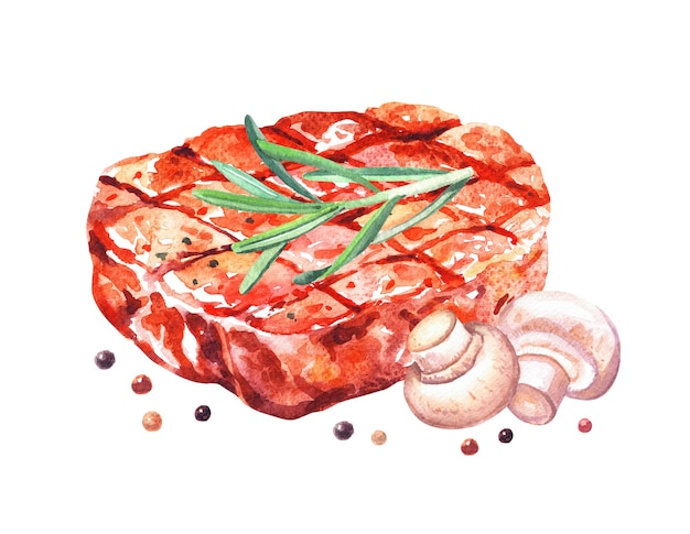 Grilled beef steak with rosemary, mushrooms. watercolor hand drawn illustration isolated on white background.